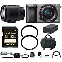 Sony Alpha A6000 Mirrorless Camera w/ 16-50mm & 18-200mm Lens Bundle (Graphite)