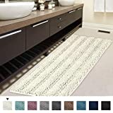 H.VERSAILTEX Non-Slip Bath Rug Runner Striped Plush Microfiber Bath Mat Long Size for Floor, Ultra Soft Thick Washable Bathroom Mat Runner Feature Dry Fast Water Absorbent (1 Piece,47 x 17 inches)