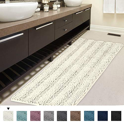 Oversized Bath Rugs - H.VERSAILTEX Non-Slip Bath Rug Runner Striped Plush Microfiber Bath Mat Long Size for Floor, Ultra Soft Thick Washable Bathroom Mat Runner Feature Dry Fast Water Absorbent (1 Piece,47 x 17 inches)