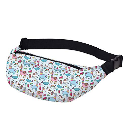 Running Belt - Water Resistant Fanny Packs Halloween Cute Skull Bone Waist Packs Adjustable Belt Bag]()