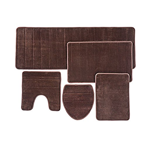 Bathroom Rug Mat, 5-Piece Set Memory Foam, Extra Soft Non-Slip Back (Brown) Bath Rug Sets