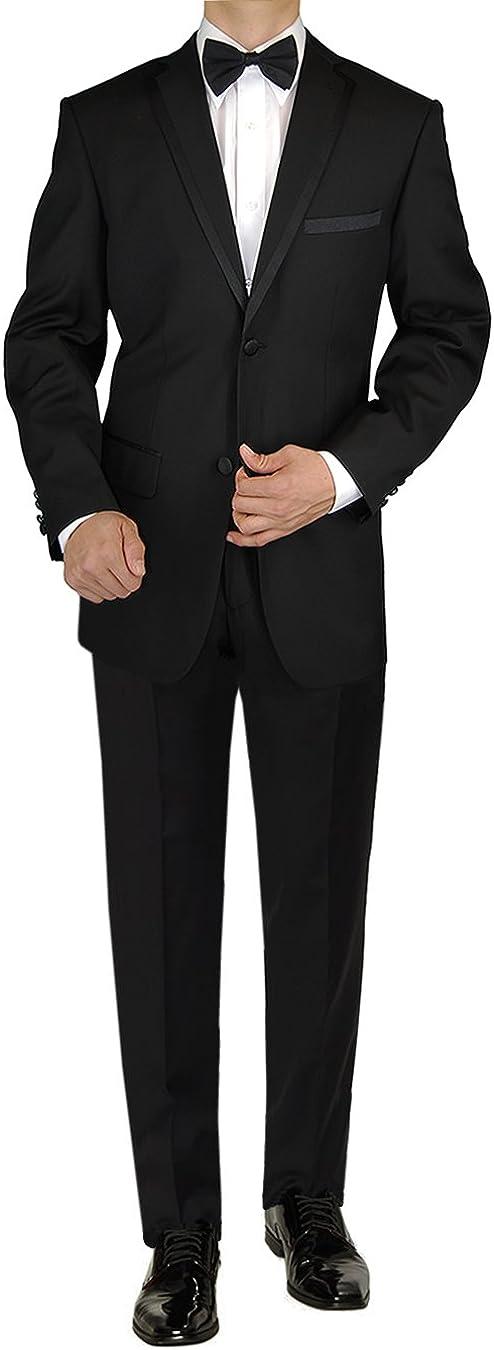 GN GIORGIO NAPOLI Men's Tuxedo Suit 2 Button Notch Lapel Jacket Adjustable Pant