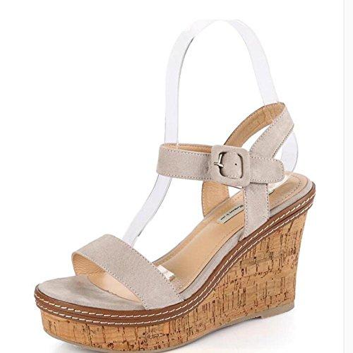 L@YC Frauen-Wedge-Sandalen Eine Fr¨¹hlings-Sommer-beil?ufige Absatz-Plattform mit starkem Soled-Wildleder Grey