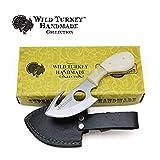 Wild Turkey Handmade Camel Bone Handle Fixed Blade Gut Hook Skinner Hunting Knife