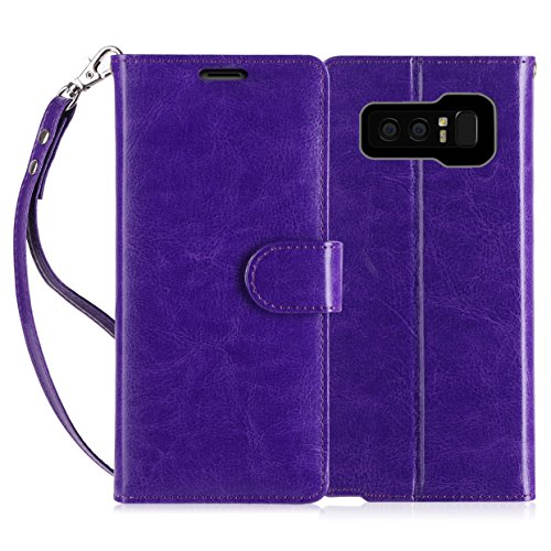 (FYY Luxury PU Leather Wallet Case for Galaxy Note 8, [Kickstand Feature] Flip Folio Case Cover with [Card Slots] and [Note Pockets] for Samsung Galaxy Note 8 Purple)