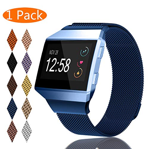 KingAcc Compatible Fitbit Ionic Bands, Milanese Stainless Steel Mesh Metal Replacement Band for Fitbit Ionic, Magnetic Clasp Lock Wristband Strap Women Men (1-Pack, Blue, Small)