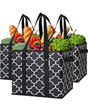 WISELIFE 3-Pack Reusable Grocery Bags Foldable Large Storage Bins Basket Water Resistant Rigid Shopping Tote Bag