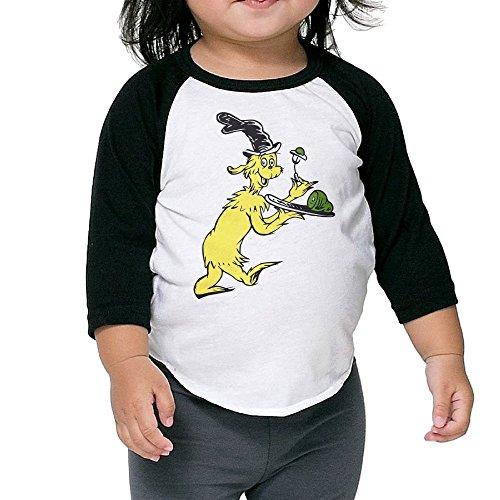 Baby Unisex 3/4 Sleeve Raglan Dr Seuss Green Eggs And Ham Baseball Shirts
