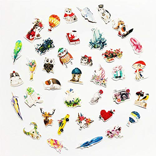 36pcs Cute Watercolor Hand-Drawing Style Flower Cat Small Animals Feather Vintage Floats hot air Balloon Stickers Calendars Album Laptop Phone Scrapbook Diary Notebook Decals for Girl and Kids ()