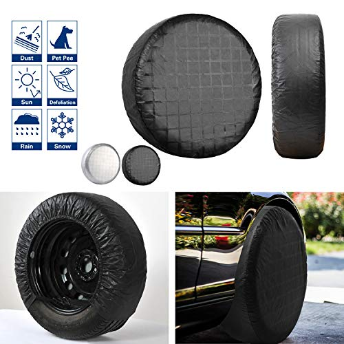 VIEFIN Set of 4 Wheel Tire Covers, Waterproof UV Sun RV Trailer Tire Protectors, Fit 27