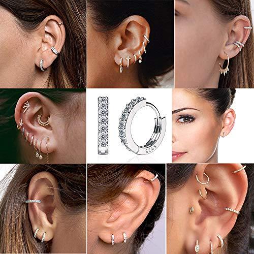925 Sterling Silver Small Hoop Earrings Cubic Zirconia cartilage, Cubic Zirconia Cuff Earrings Huggie Stud, Gold Plated Huggie Earrings for Women Hypoallergenic (Simple-Silver)
