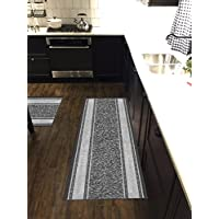 Custom Size Grey Ivory Bordered Non-Slip Rubber Backed Hallway Carpet Runner Rug | 22-inch x 8-feet
