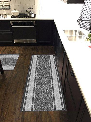 Custom Size Grey Ivory Bordered Non-Slip Rubber Backed Hallway Carpet Runner Rug | 22-inch x 23-feet