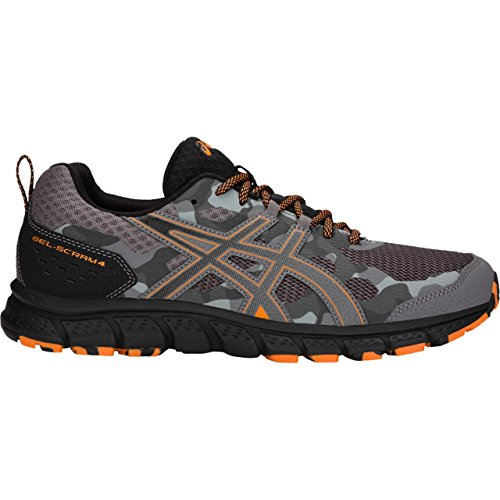 Runners Gel Asics (ASICS 1011A045 Men's Gel-Scram 4 Running Shoe, Carbon/Lava Orange - 14 D(M) US)