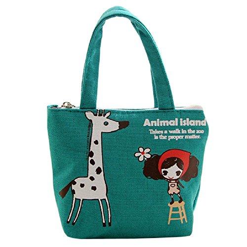 Lid Pattern (IEason Women Portable Bag Linen Package Handbag Totes Shopper Giraffe Pattern (green))
