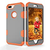 iPhone 7/8 Plus Case, FOLICE Hybrid Heavy Duty Shockproof Full-Body Protective Case with Three Layer Impact Protection for Apple iPhone 8 Plus, (Gray Orange)