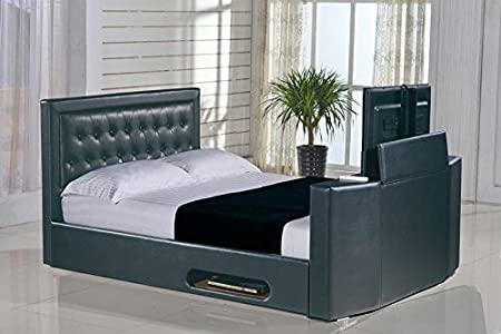 Classic Rio Ottoman TV Bed Frame Superior Black Faux Leather 4FT6 Double