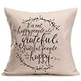 Happy Fall Throw Pillow Cover Thanksgiving Cushion Case 18 x 18 inch (E)