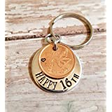 Happy 16th Birthday Gift Lucky 2003 Copper Penny Cent Key Chain for Teenager