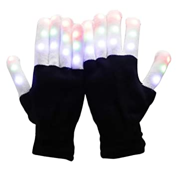 1 Pairs LED Flashing Finger Light Up Gloves Colorful Lighting for Rave Party