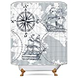 Nautical Shower Curtains Riyidecor Nautical Sailboat Map Shower Curtain Panel Weighted Hem Grey Boat Sketch Ship Wheel Compass Anchor Decor Fabric Set Polyester Waterproof Fabric 72x72 Inch Free 12-Pack Plastic Hooks