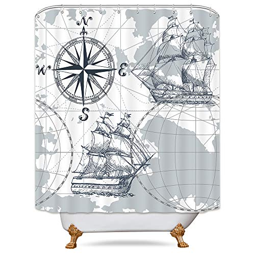 Riyidecor Nautical Sailboat Map Shower Curtain Panel Weighted Hem Grey Boat Sketch Ship Wheel Compass Anchor Decor Fabric Set Polyester Waterproof Fabric 72x72 Inch Free 12-Pack Plastic Hooks