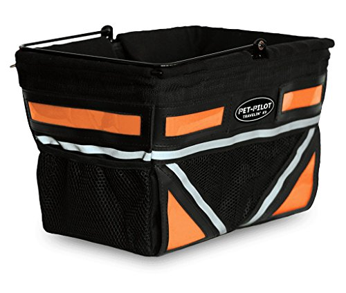 Travelin K9 2019 Pet-Pilot Original Dog Bike Basket Carrier | 10 Color Options for Your Bicycle (Neon Orange)