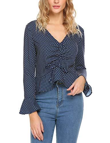 Meaneor Womens Blouse Knit Tunic Tie Knot Henley Tops Batwing Plain Shirts Blue XXL