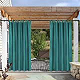 cololeaf Waterproof Pergola Outdoor Curtain Panel Drapes Blackout Outdoor Décor Tab Top Curtains Light Blocking for Patio Porch Gazebo Panel Drapery, Width 120' x Height 84', Turquoise (1 Panel)