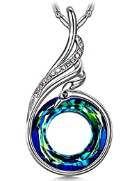 """Nirvana of Phoenix"" Pendant Necklace ♥Gifts for Women♥ Women Jewelry Made with Crystal Volcano Bermuda Blue Swarovski Crystals Wanzi Chain 17.7+2"""