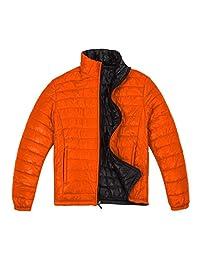 DADALING Men's Lightweight Stand Collar Packable Down Jacket Reversible Jacket