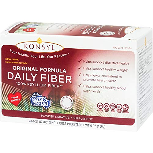 Konsyl Original Formula Daily Psyllium Fiber Powder Laxative/Supplement, 30-6 Gram Single Dose Packets ()