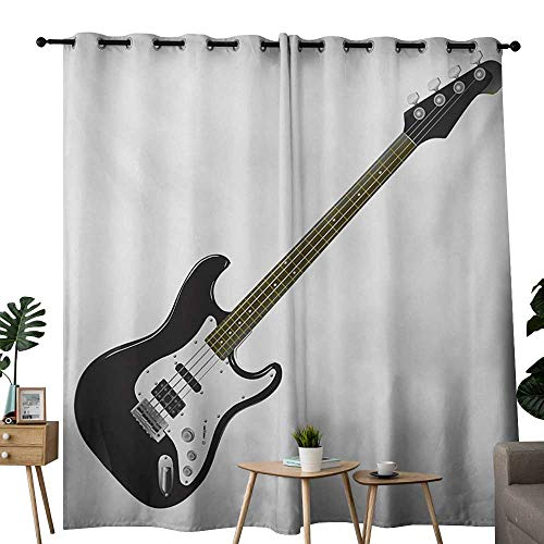 (NUOMANAN Curtains Guitar,Bass Four String Rhythm Music Rock and Roll Element Detailed Illustration,Black White Caramel,Treatments Thermal Insulated Light Blocking Drapes Back for Bedroom 120