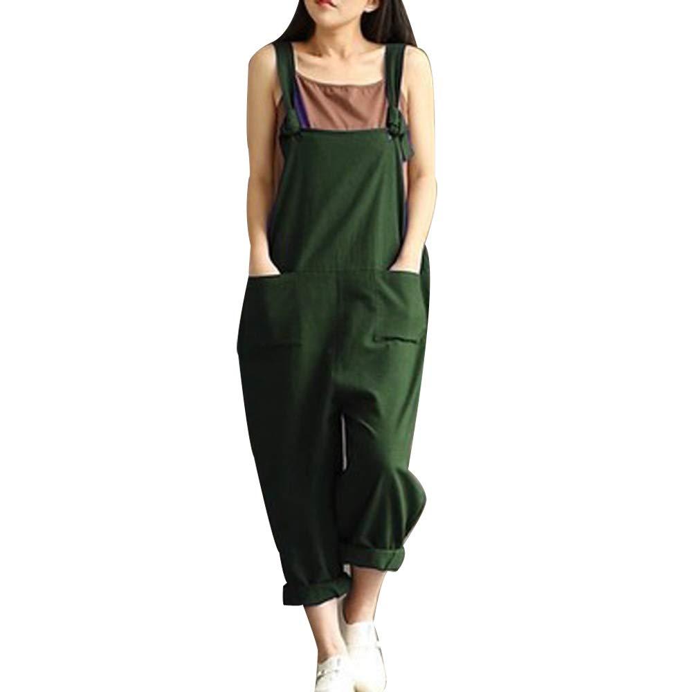 Donna Salopette Lunga Casual Pantaloni Morbuy Nuovo Moda Senza Maniche Harem Jumpsuit Ragazza Overall Hippie Sciolto Cinturino Tuta con Tasche Pantaloni Incinti