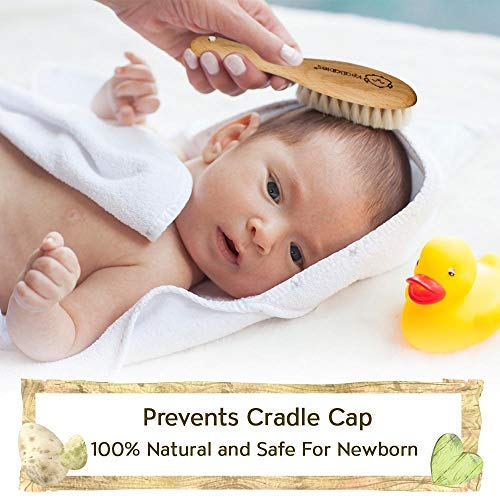 Natural Wooden Hairbrush with Soft Goat Bristles for Cradle Cap Baby Hair Brush and Comb Set for Newborn Perfect Scalp Grooming Product for Infant Kids Baby Registry Gift Toddler