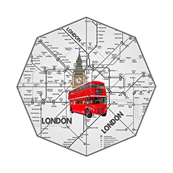 Mapa del metro de Londres Big Ben y autobuses de Londres elementos Custom Plegable Lluvia Paraguas