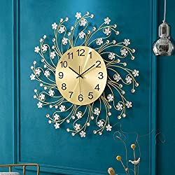 Household Wall Clock Decorative Metal Diamond 24 Inch Large Digital Home Decoration Analog Metal Clock