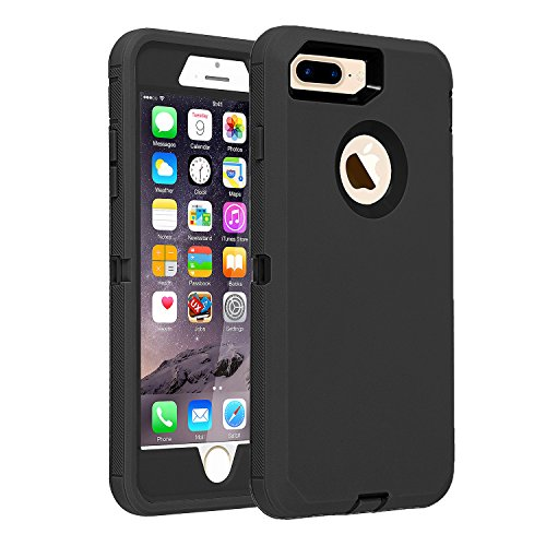 """iPhone 7 Plus/8 Plus Case Heavy Duty Armor 3 in 1 Built-in Screen Protector Rugged Cover Dust-Proof Shockproof Drop-Proof Scratch-Resistant Shell Compatible with Apple iPhone 7+/8+ 5.5"""",Black"""
