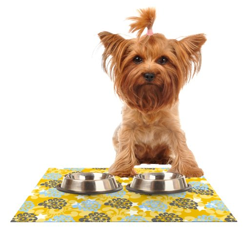 Kess InHouse Nandita Singh bluee and Yellow Flowers  gold Floral Feeding Mat for Pet Bowl, 18 by 13-Inch