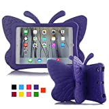 iPad Mini Case,JUN-Q Butterfly Design Light Weight EVA Kickstand Shock Proof Protective Kids Funny Tablet Case Cover for Apple iPad Mini 3 2 1(Purple)