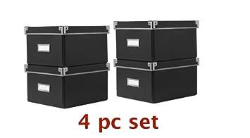 Ikea Kassett Cd Dvd Aufbewahrung Boxen 4er Set Schwarz 16 X 26