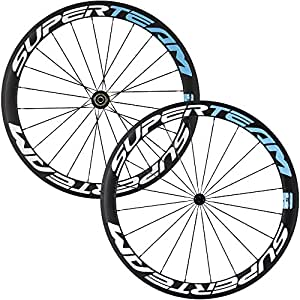 Superteam Carbon Fiber Road Bike Wheels 700C Clincher Wheelset 50mm Matte 23 width (Blue and White)