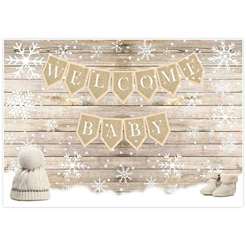 (Allenjoy 7x5ft Winter Welcome Baby Shower Backdrop for Party Event Decor Holiday Xmas Christmas White Snow Wonderland Birthday Celebration It's a Girl Boy Background Photobooth Pictures)