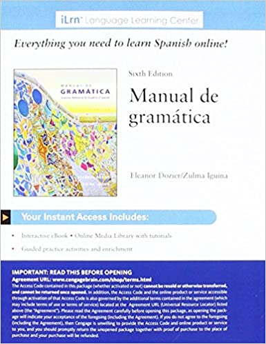 ILrnTM Heinle Learning Center 4 Terms 24 Months Printed Access Card For Iguina Doziers Manual De Gramatica 6th Edition