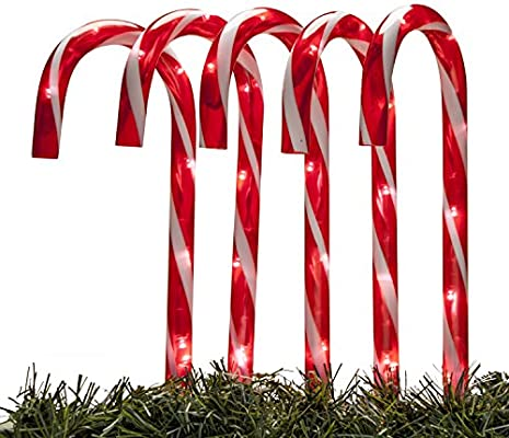 4d2b59351 Set of 5 Candy Cane Light-up Electric Driveway Markers Holiday Decorations