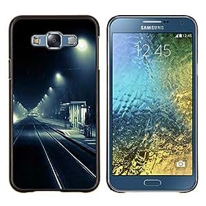 LECELL--Funda protectora / Cubierta / Piel For Samsung Galaxy E7 E700 -- Detener luces de calle Negro Camino Blanco --