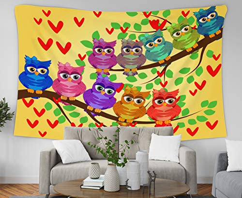oom Tapestry Wall Hanging Tapestries with 60x50 Inches Funny Owls in Flowers Spring Concept Bright Summer Wallpaper Easter Art Tapestry for Dorm Bedroom Living Room Home Decor ()