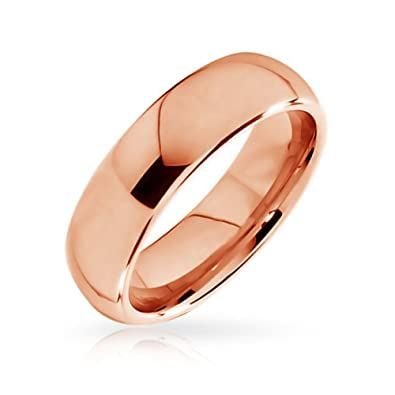 e9b3bdf6c Amazon.com: Bling Jewelry Plain Simple Dome Couples Wedding Band Rose Gold  Plated Tungsten Rings for Men for Women Comfort Fit 6MM: Jewelry
