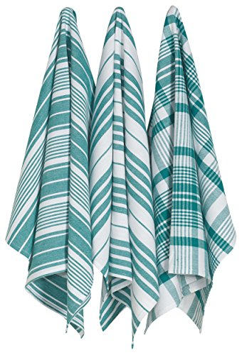 Now Desings Jumbo Pure Kitchen Towel Set of Three, Peacock Green
