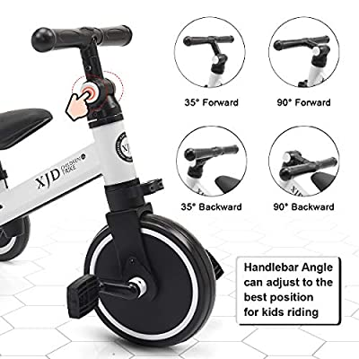 XJD 3 in 1 Kids Tricycles for 1-3 Years Old Kids Trike 3 Wheel Bike Boys Girls 3 Wheels Toddler Tricycles Toddler Bike Trike Upgrade 2.0 (White) : Sports & Outdoors